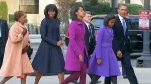 La familia Obama hace su camino a la inauguración esta mañana(Foto cortesia de ABC News)